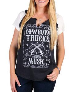 Signorelli Women's Charcoal Cowboys Trucks Music Tee , Charcoal, hi-res