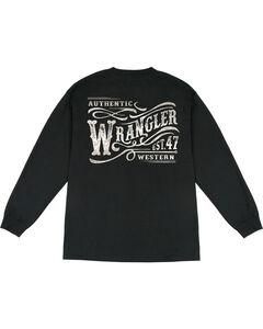 Wrangler Men's Long Sleeve Wordmark Tee, Black, hi-res