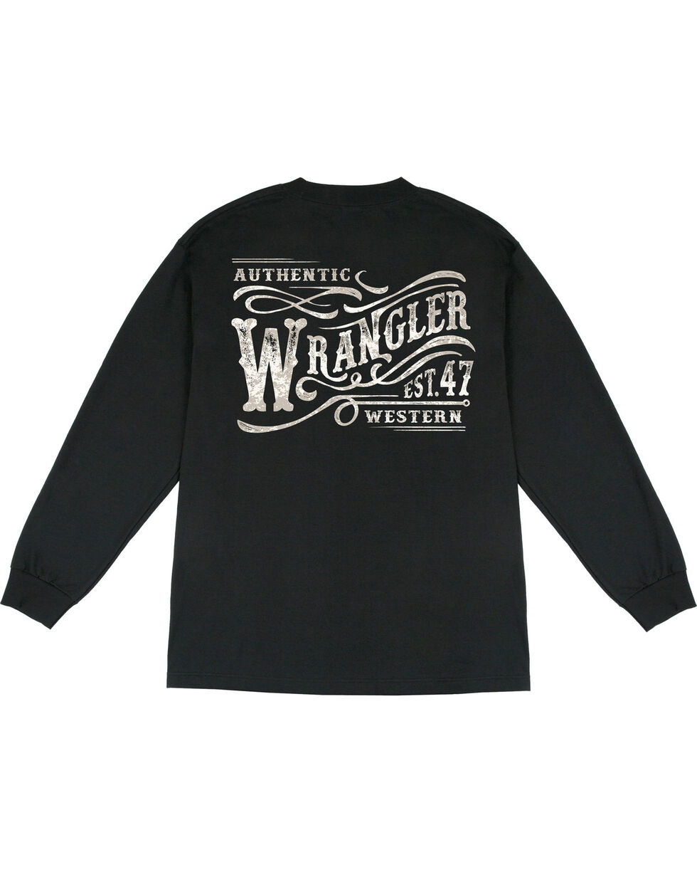 Wrangler Men's Long Sleeve Wordmark Tee, Black, hi-res