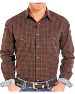 Rough Stock by Panhandle Men's Plaid Long Sleeve Shirt, Burgundy, hi-res