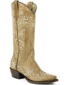 Roper Tan Floral Stitched Cowgirl Boots - Snip Toe , , hi-res