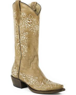 Roper Tan Floral Stitched Cowgirl Boots - Snip Toe , Tan, hi-res