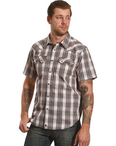 Cody James Men's Plaid Short Sleeve Snap Shirt  - Big & Tall, White, hi-res