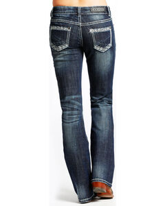 Rock & Roll Cowgirl Women's Aztec Embroidered Mid-Rise Jeans - Boot Cut, Dark Blue, hi-res