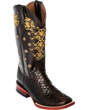 Ferrini Chocolate Python Cowgirl Boots - Square Toe, Chocolate, hi-res