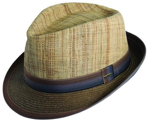Scala Men's Brown Raffia & Paper Braid Fedora Hat, Brown, hi-res
