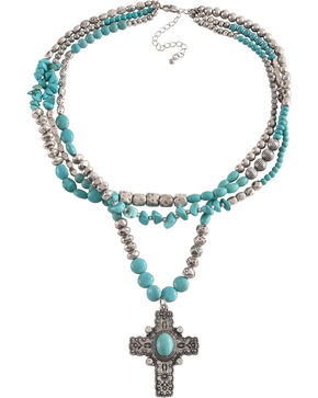 Shyanne Women's Multi-Strand Cross Necklace, Turquoise, hi-res