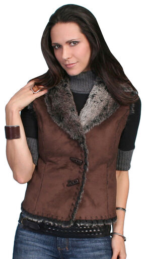 Scully Faux Shearling Vest, Brown, hi-res