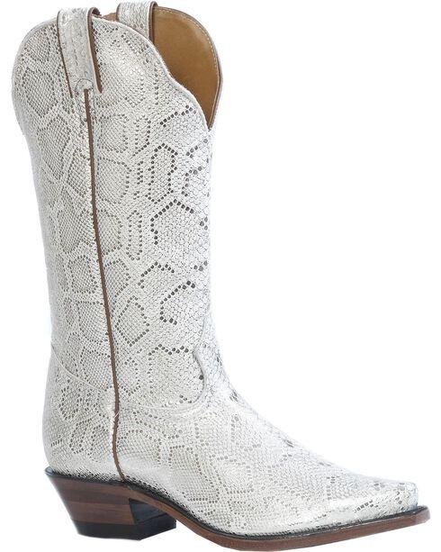 Boulet Metallic Snake Print Cowgirl Boots - Snip Toe, Platinum, hi-res