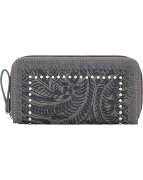 Bandana by American West Women's Trinity Trail Zip Around Wallet, Grey, hi-res