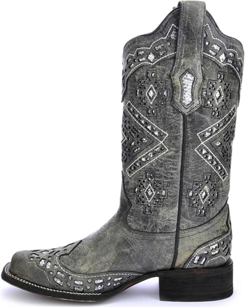 Corral Women's Glitter Cowgirl Boots - Square Toe, Black, hi-res