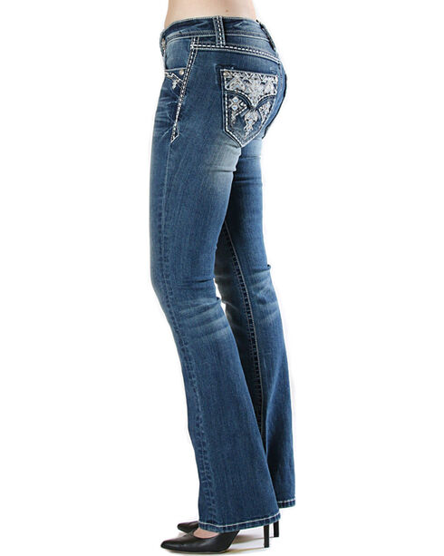 Grace in LA Women's Embroidered Flap Pocket Jeans - Boot Cut , Medium Blue, hi-res