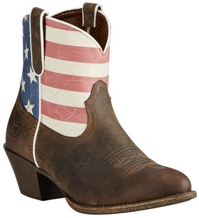 Ariat Women's Brown Old Glory Gracie American Flag Boots - Medium Toe, Brown, hi-res