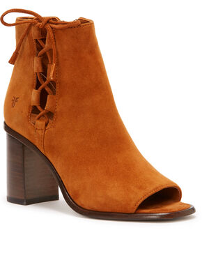 Frye Women's Brown Amy Side Ghille Peep Toe Booties  , Lt Brown, hi-res