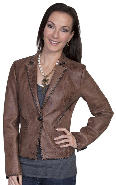 Scully Lamb Leather Whip Stitch Jacket, Brown, hi-res