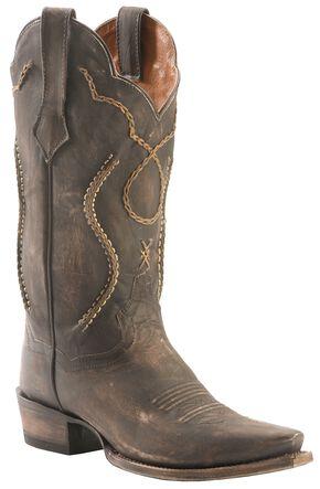 Dan Post Tyree Chain Lace Cowboy Boots - Snip Toe, Chocolate, hi-res