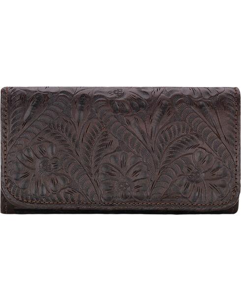 American West Women's Chocolate Annie's Secret Tri-Fold Wallet , Chocolate, hi-res