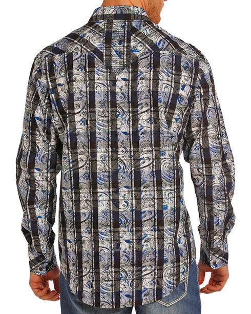 Rock & Roll Cowboy Men's Black Checkered Paisley Print Shirt , Black, hi-res