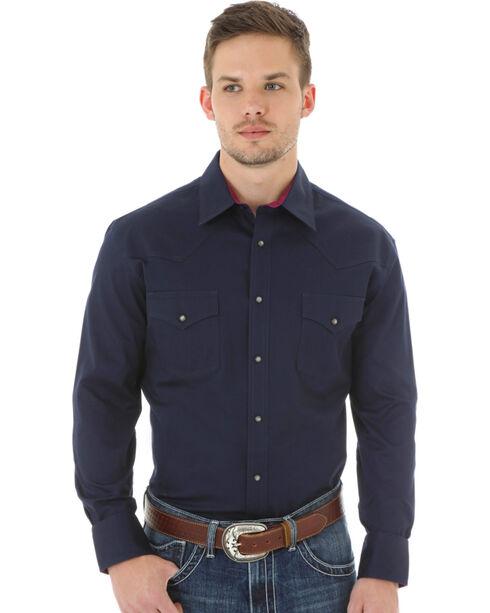Wrangler 20X Advanced Comfort Men's Navy Button Shirt, Navy, hi-res