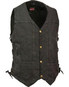 Milwaukee Leather Men's 10 Pocket Side Lace Denim Vest, Black, hi-res