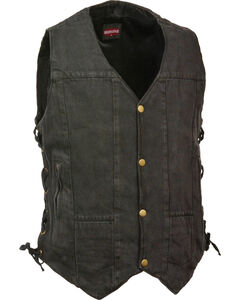 Milwaukee Leather Men's 10 Pocket Side Lace Denim Vest - 5X, Black, hi-res