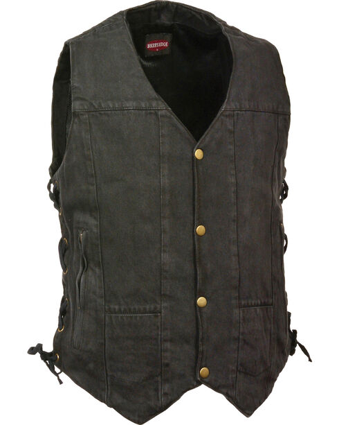 Milwaukee Leather Men's 10 Pocket Side Lace Denim Vest - 5X, , hi-res