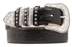 Nocona Croc Print Embellished Keeper Belt, Black, hi-res