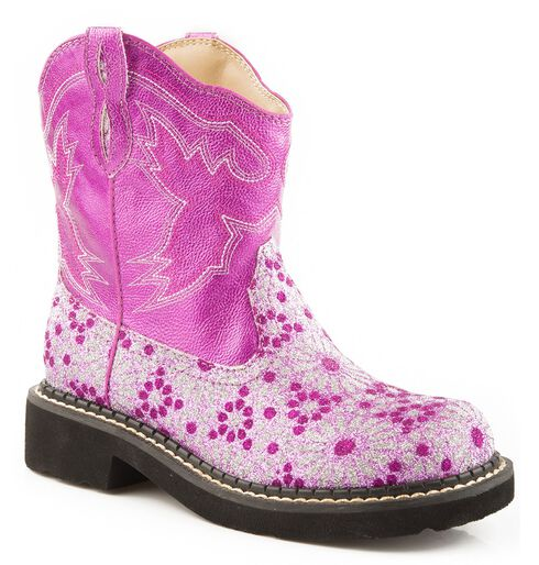 Roper Children's Chunk Glittery Flower Cowgirl Boots - Round Toe, Pink, hi-res