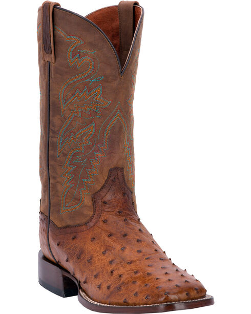 Dan Post Chandler Full Quill Ostrich Cowboy Boots - Square Toe, Bay Apache, hi-res