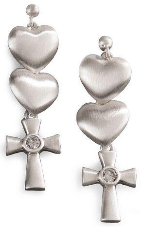 Montana Silversmiths Hearts & Cross Dangle Earrings, Silver, hi-res