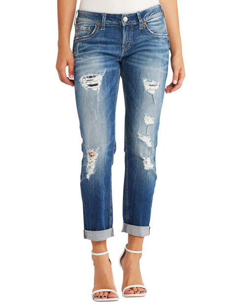 Silver Jeans Women's Sam Boyfriend Jeans - Plus Size, Indigo, hi-res