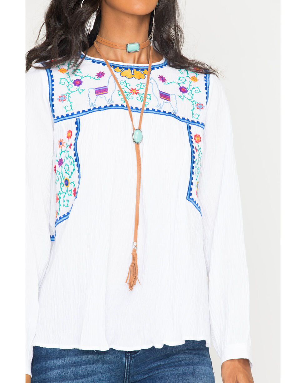 MI. OH. MI. Women's Embroidered Floral & Llama Long Sleeve Top, White, hi-res