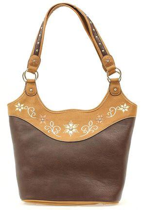 Blazin Roxx Floral Embroidered Bucket Bag, Brown, hi-res