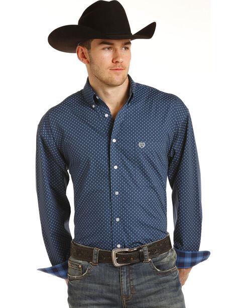 Panhandle Men's Blue Poplin Print Shirt , Blue, hi-res