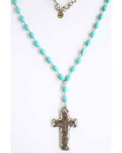 West & Co. Women's Oval Turquoise Cross Necklace, Turquoise, hi-res