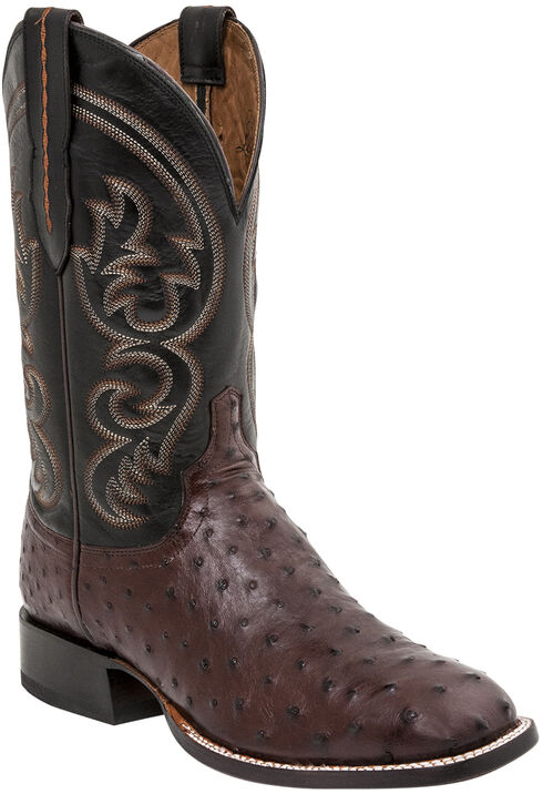 Lucchese Men's Josh Full Quill Ostrich Horseman Boots - Square Toe, Sienna, hi-res