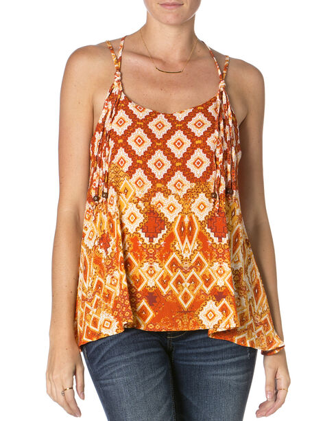 Miss Me Lace Orange Print Tank Top , Orange, hi-res