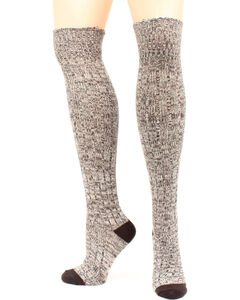 Ariat Women's Above the Knee Marbled Knit OSFA Socks, Black, hi-res