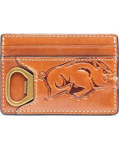 Jack Mason Men's Arkansas Sideline ID Card Case , Brown, hi-res