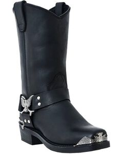 Dingo Eagle Harness Boots - Square Toe, Black, hi-res
