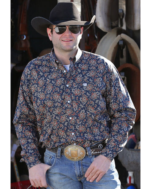 Cinch Men's Navy Classic Paisley Print Western Shirt , Navy, hi-res
