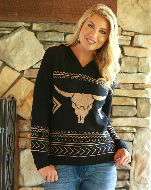 Wrangler Women's Black Steerhead Aztec Knit Sweater , Black/tan, hi-res