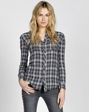 MM Vintage Women's Highway Rider Plaid Shirt, Grey, hi-res