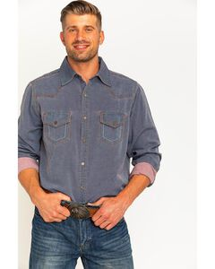 Ryan Michael Men's Navy Yarn Dye Patina Canvas Shirt , , hi-res