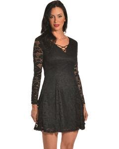 Jody of California Women's Criss Cross Neck Black Lace Dress, Black, hi-res
