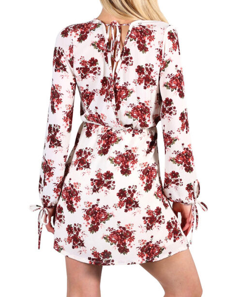 Luna Chix Women's Floral Long Sleeve Tie Dress, Multi, hi-res