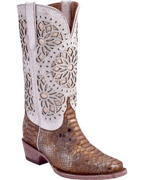 Ferrini Women's Python Print Western Boots - Square Toe, Bronze, hi-res