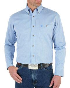 Wrangler Men's Blue George Strait Ombre Print Shirt - Tall , Blue, hi-res