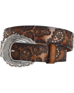 Tony Lama Women's Brown Tooled Paisley Leather Belt , Brown, hi-res