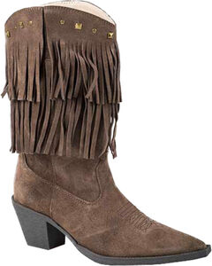 Roper Suede Fringe Cowgirl Boots - Pointed Toe, , hi-res